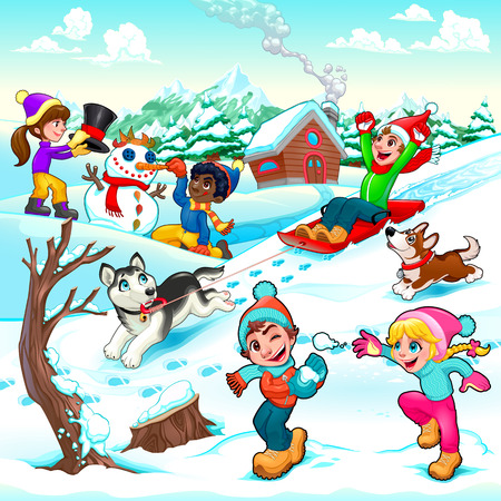 alps: Funny winter scene with children and dogs. Cartoon vector illustration