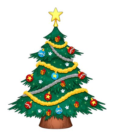 Christmas Tree With Decorations Cartoon Vector Isolated Object