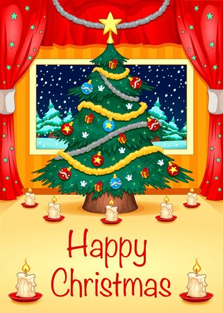 gift season: Hapy Christmas Card. Vector illustration Illustration