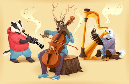 funny cartoon: Musician cartoon animals. Vector illustration.