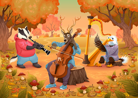 cellist: Musician animals in the wood. Cartoon and vector illustration.
