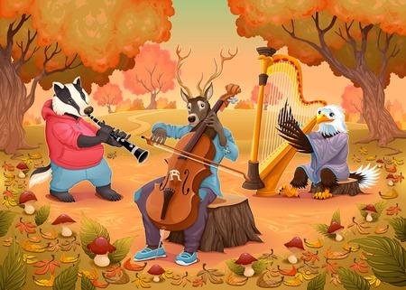 cartoon mushroom: Musician animals in the wood. Cartoon and vector illustration.