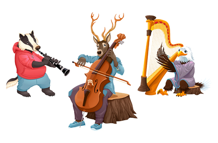 violoncello: Musician cartoon animals. Vector isolated characters.
