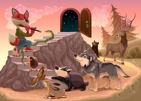 wolf: Music to go beyond the fear. Fox is playing the flute. Vector illustration