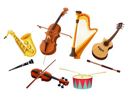 the harp: Instrumentos musicales. Vector de objetos aislados
