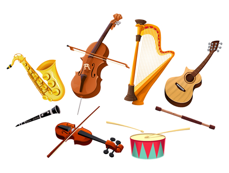wind: Musical instruments. Vector isolated objects