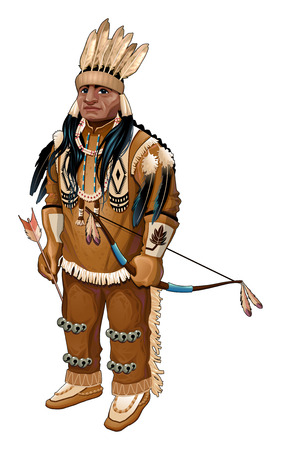 chief: Native American with bow and arrow. Vector isolated character.