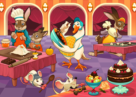 Funny animals are cooking cakes and cookies. Vector cartoon illustration