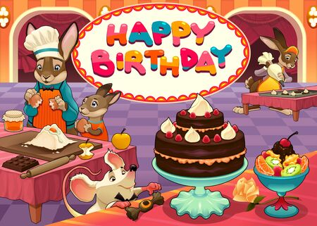 pastry chef: Happy Birthday card with funny pastry chef animals. Vector cartoon illustration Illustration