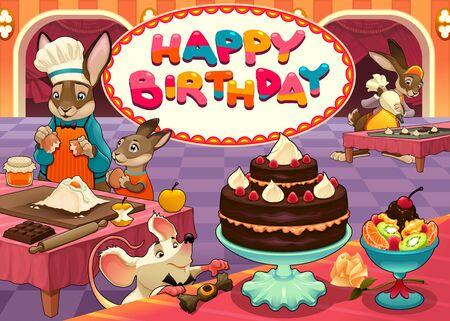 ensalada de frutas: Tarjeta del feliz cumplea�os con los animales divertidos chef de reposter�a. ilustraci�n de dibujos animados de vectores Vectores