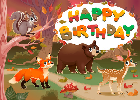 cartoon present: Happy Birthday card with wood animals. Illustration