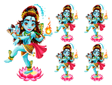 Funny representation of eastern god in 5 different eye colors, vector cartoon isolated characters.