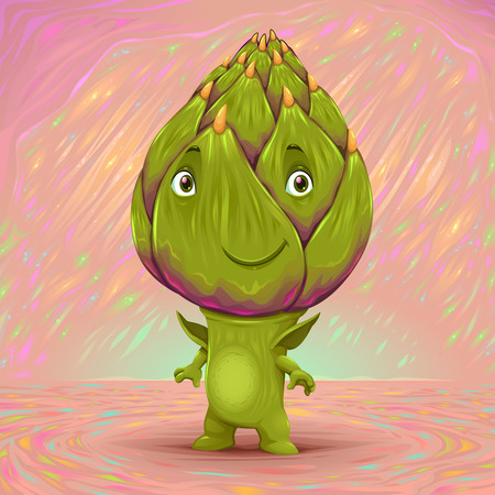 artichoke: Hello my name is artichoke. Vector cartoon illustration Illustration