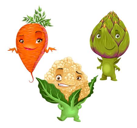 artichoke: Carrot, Cauliflower and Artichoke. Funny isolated vegetables