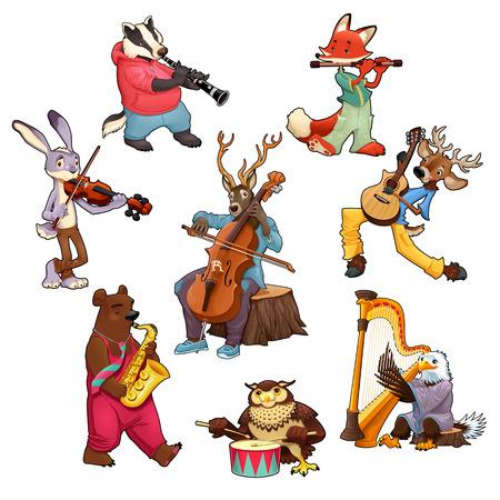 animales músico de dibujos animados. Ilustración de vector