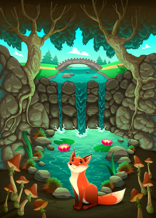 waterfall river: The fox near a pond. Funny cartoon and illustration