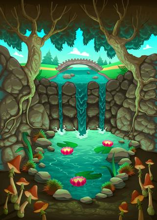Natuurlijk landschap met de vijver.