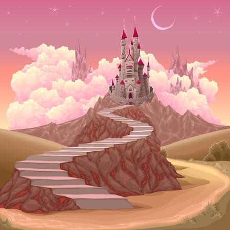 Fantasy landscape with castle. 일러스트