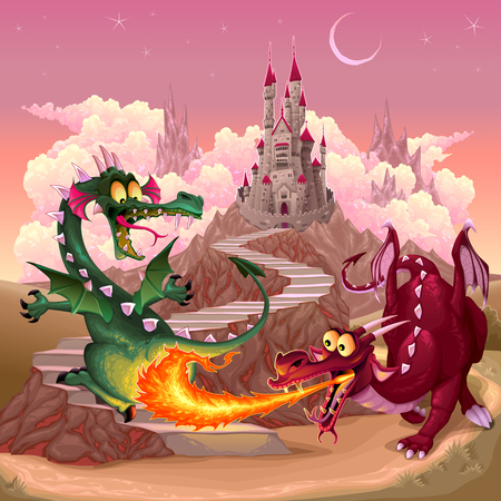Funny dragons in a fantasy landscape with castle. Cartoon illustration