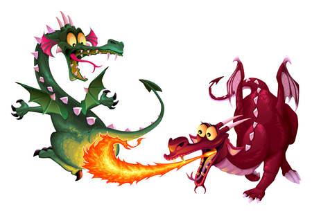 dragon fire: Funny dragons are playing with fire. Cartoon  isolated characters. Illustration