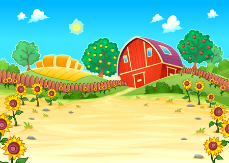 Funny landscape with the farm and sunflowers. Cartoon vector illustration
