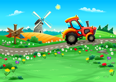 Funny landscape with tractor on the road. Cartoon vector illustration Фото со стока - 52572028