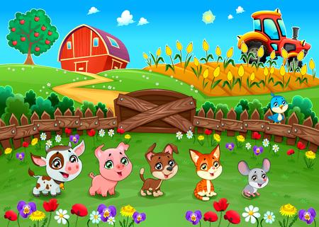 Paisaje divertido con animales de granja. ilustración vectorial de dibujos animados
