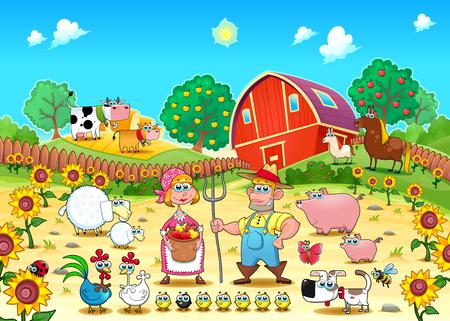 manzana caricatura: escena de la granja divertida con los animales y los agricultores. Dibujos animados y vector