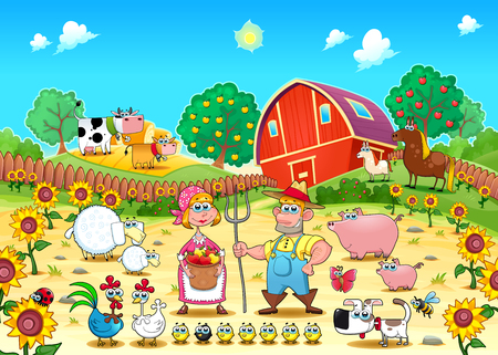 animal family: Funny farm scene with animals and farmers . Cartoon and vector illustration