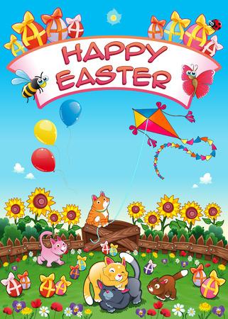 huevo caricatura: Tarjeta de Pascua feliz con los gatos divertidos y huevos. ilustraci�n de dibujos animados de vectores