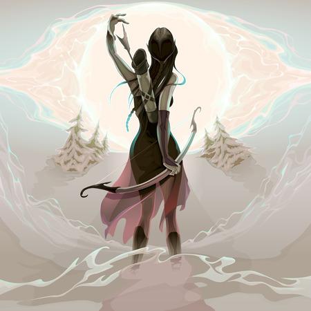 atmosfera: La última oportunidad. Elf está agarrando una flecha, ilustración vectorial. No se utiliza ninguna transparencia.