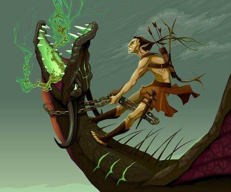 fighters: Elf is riding the dragon. Vector fantasy illustration