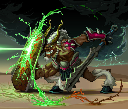 desert storm: The beast is defending from lighting ball. Fantasy vector illustration Illustration