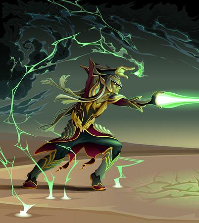 desert storm: Elf is creating a lighting ball. Fantasy vector illustration