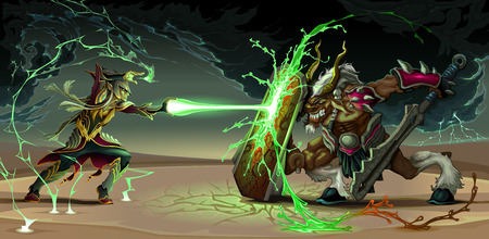 Fighting scene between elf and beast. Fantasy vector illustration Ilustração