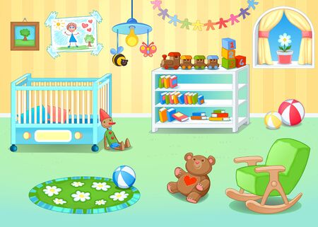 nursery room: Funny nursery with toys cartoon illustration
