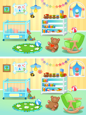 nursery room: Spot the differences. Two images with seven changes between them, vector and cartoon illustrations. Illustration