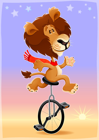 unicycle: Funny lion on an unicycle