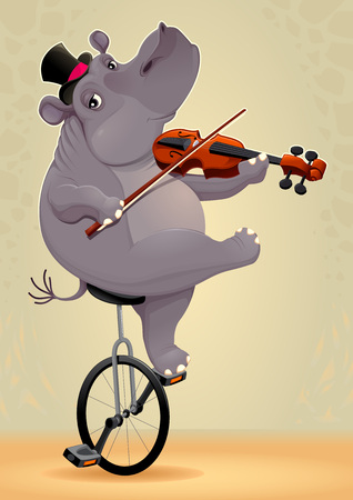 unicycle: Funny hippo on an unicycle