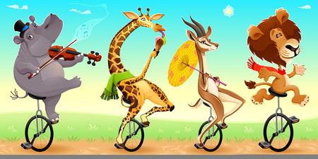animales silvestres: animales salvajes divertidos en monociclos