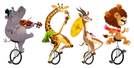 cartoon circus: Funny wild animals on unicycles