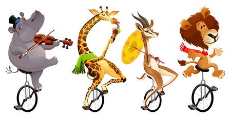Grappige wilde dieren op eenwielers Stock Illustratie