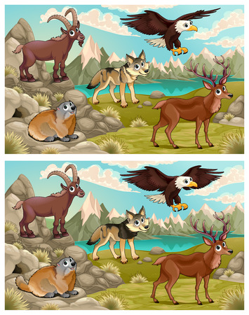 difference: Spot the differences. Two images with five changes between them and cartoon illustrations.