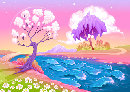 afterlife: Astral landscape with trees and river illustration