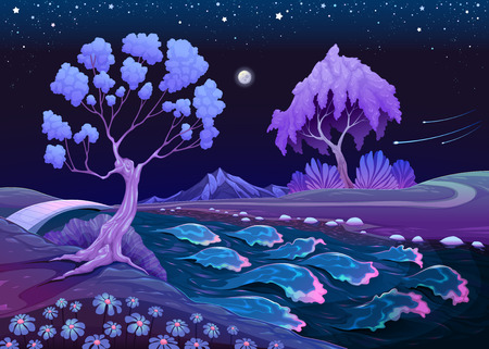 Astral landscape with trees and river in the night illustration
