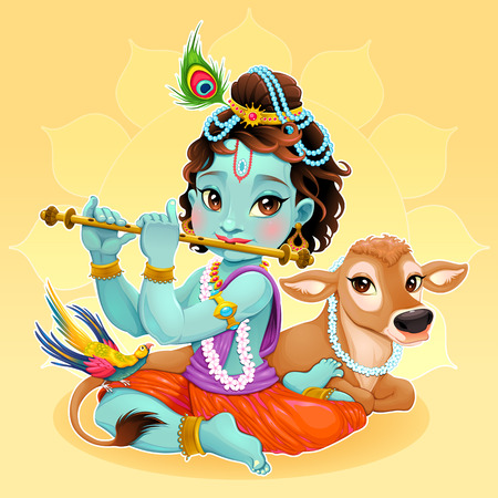joyful: Baby Krishna with sacred cow cartoon illustration of hindu god. Illustration