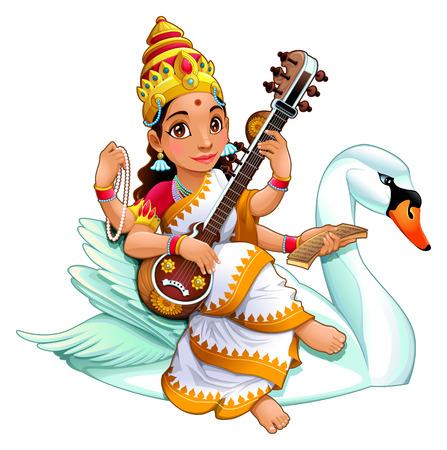hindu goddess: Sarasvati, Hindu goddess of knowledge, music, arts, wisdom and learning.
