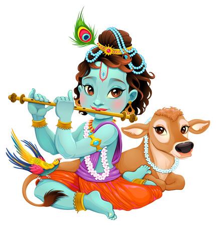 flauta: Krishna bebé con la vaca sagrada