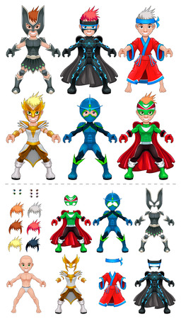 larger: Avatar heroes illustration, isolated objects. All the elements adapt perfectly each others. Larger characters on the top are just examples of various combinations between 5 eyes, 6 hairstyle colors, 6 dresses, on the bottom of the preview. Illustration