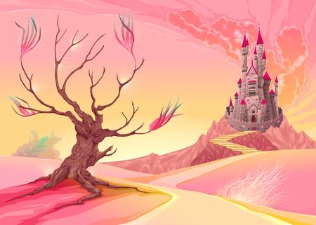 Fantasy landscape with castle. Cartoon illustration
